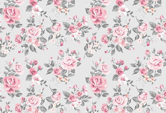 Vintage Grey And Pink Rose Floral Wallpaper Etsy In 2020 Floral Wallpaper Wallpaper Rose Wallpaper