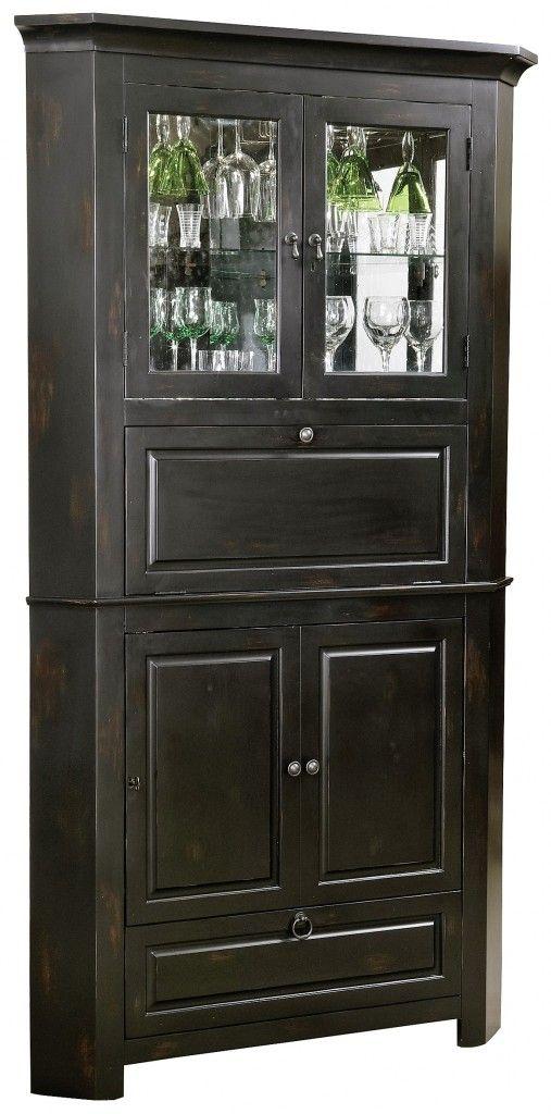 Rustic Corner Bar Cabinet – Wine & Bar Furniture