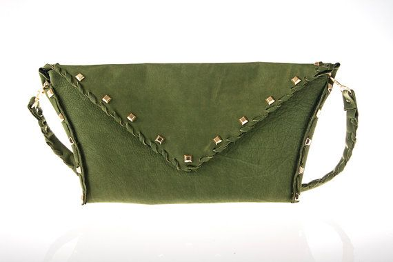 green  leather purse bag by ElenLovelyCollection on Etsy, €75.00