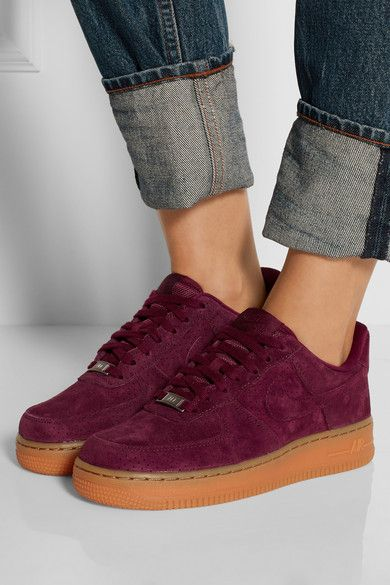 Rubber sole measures approximately 30mm/ 1 inch Burgundy suede Lace-up front Large to size. See Size & Fit notes.