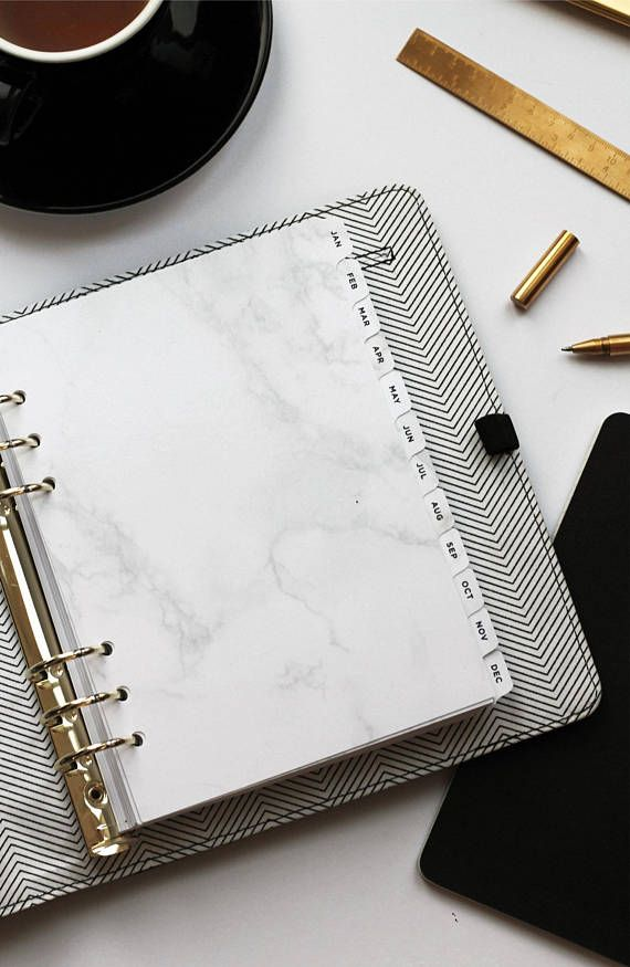 Monthly Dividers A5 Marble Planner Dividers With Letterpress Etsy Marble Planner Planner Dividers Planner