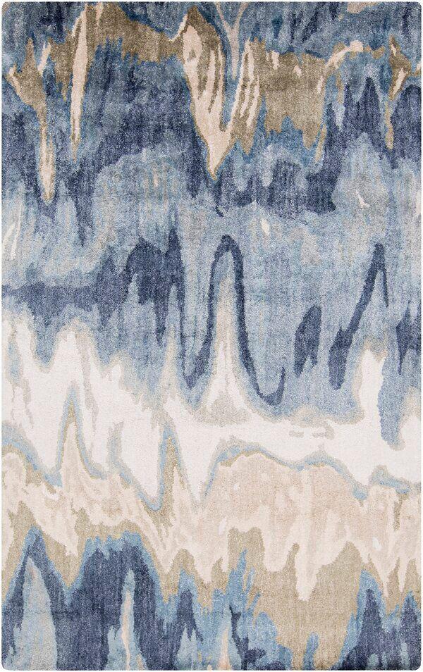 Gemini Abstract Handmade Tufted Blue Beige Area Rug Silk Area Rugs Rugs On Carpet Modern Rugs