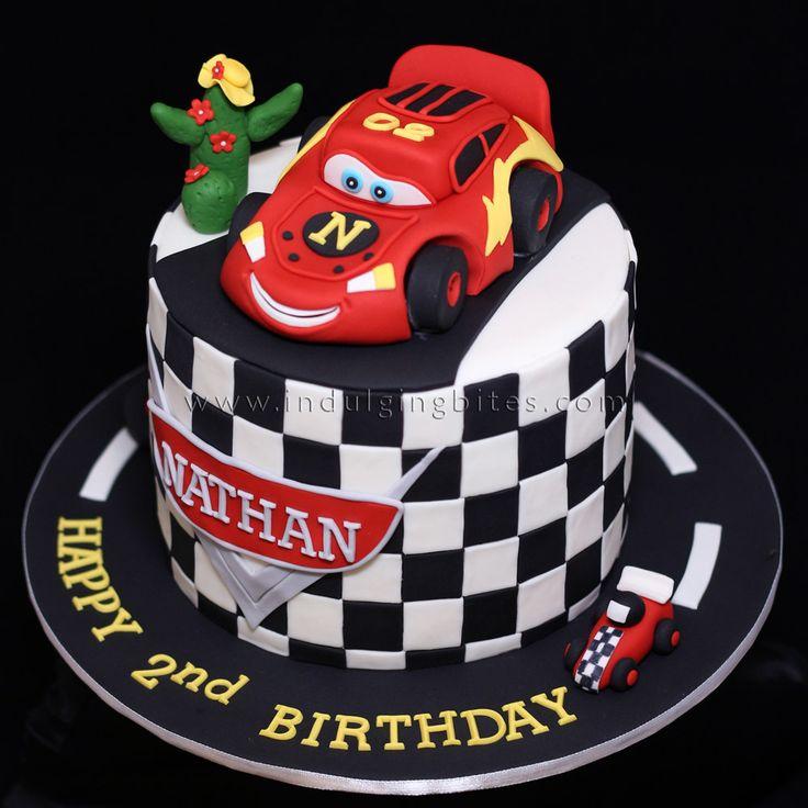 CARS Lightning McQueen Design Fondant Birthday Celebration Cake.