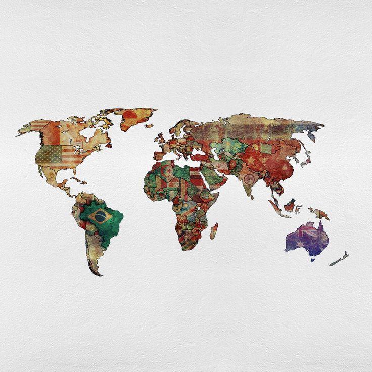 Political Map Of Senegal%0A Adesivo de Parede Mapa Mundi Para Decora    o da Sala de Estar