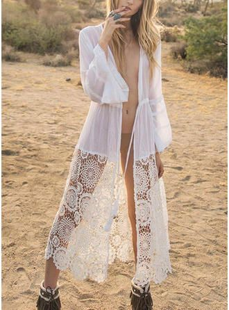 VERYVOGA Couleur Unie Col V Sexy Tenues de plage Maillots De Bain – Blanc