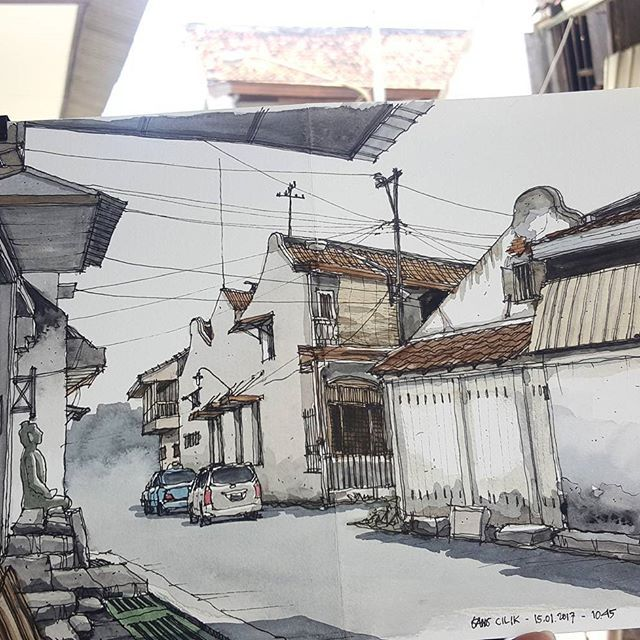 #sketching at #gangcilik #pecinan #semarang with #semarangsketchwalk 15.01.2017 #livesketch #onthespot #chinatown #sketchwalker #indonesiasketchers #adeguntur