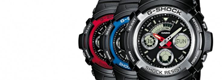 Un clásico dentro de los G-Shock, la gama AW-590 y 591 en distintos colores como son el AW-590-1AER combinando negro y gris, el AW-591-2AER en azul y el AW-591-4AER en rojo.