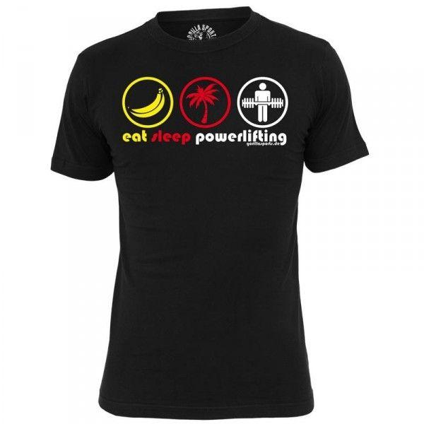 Gorilla Sports T-paita eat, 19,95 €. Tyylikäs Gorilla Sportsin T-paita. Kestävä T-paita jokapäiväiseen käyttöön. 100% puuvillaa. #eat #sleep #powerlifting