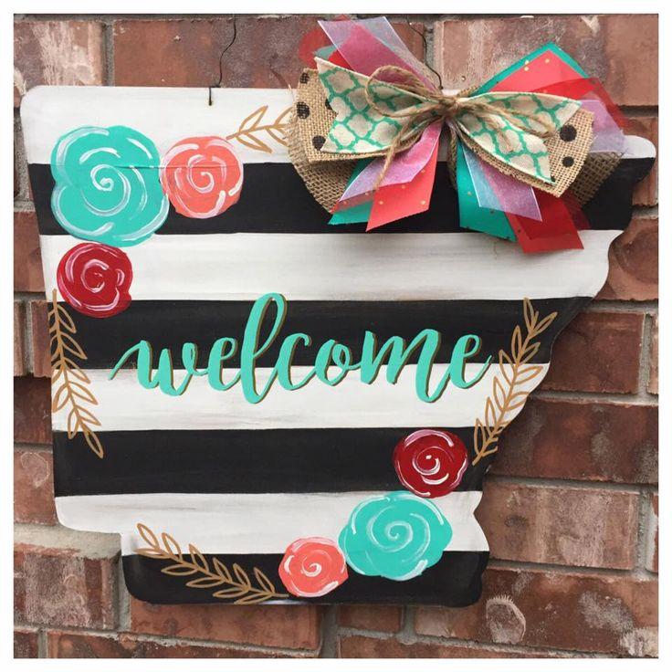 Arkansas Door Hanger, Spring Door Hanger, Stripes and Floral, Spring Wreath, Arkansas Wreath, Welcome Door Hanger, State Door Hanger by CrazyArtTeacherLady on Etsy