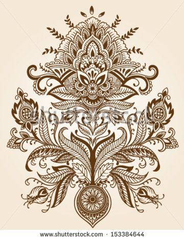 Henna Lace Paisley Flower Vector - stock vector