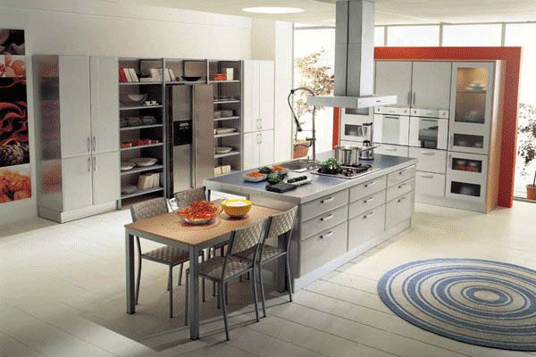 Like this, but would have lacquered cabinets and would move island closer to refrigerator side.
