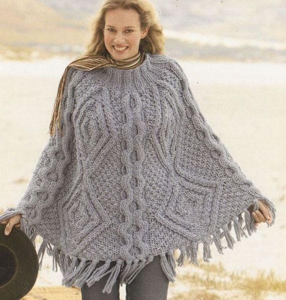 Ladies mega super chunky cable aran poncho vintage knitting pattern PDF insta...