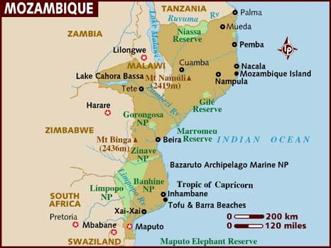 Map of Mozambique (East Africa)