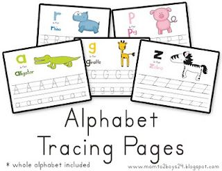 Alphabet tracing pages.