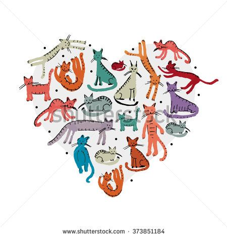 Love, cats childish style. Sketch for your design