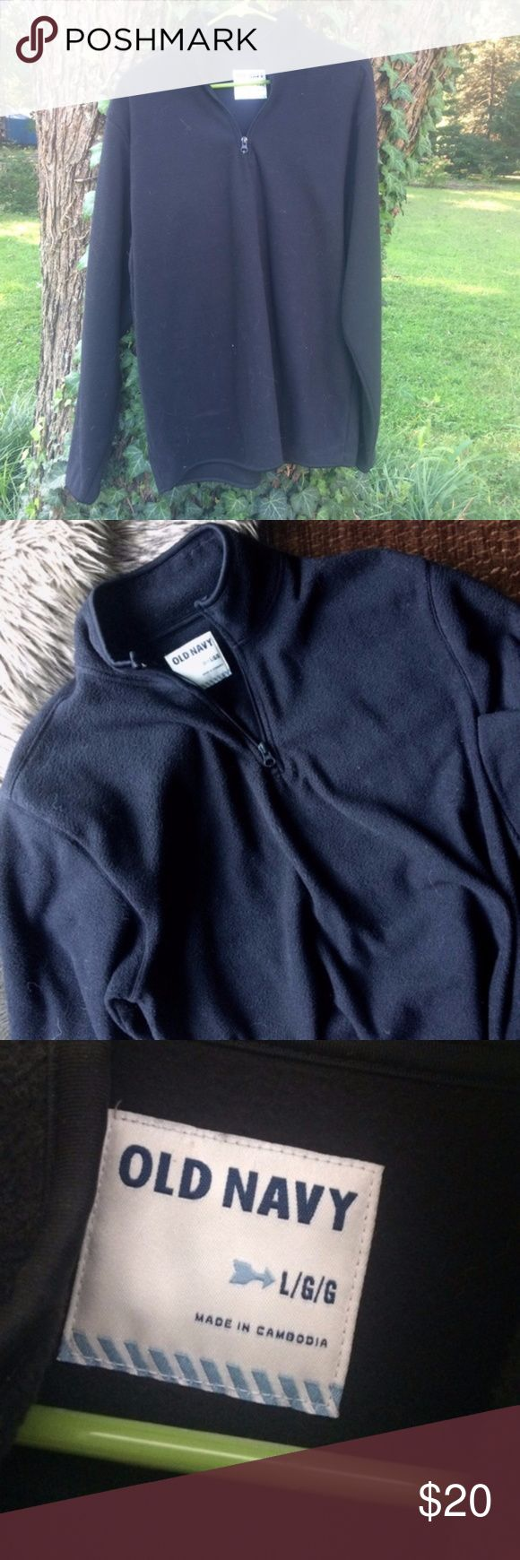 Old Navy warm pullover half zip soft fleece L Men's Old Navy pullover half zip fleece, no flaws, very soft size large. Color is solid black. Non-smoking home. Old Navy Jackets & Coats