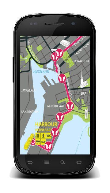Visit Helsinki a été fait pour la ville d'Helsinki. L'application embarque une carte (statique) d'une partie de la ville sur laquelle sont indiqués des monuments à faire découvrir aux touristes et un ensemble d'éléments multimédias (image, audio ou vidéo) descriptifs des monuments considérés. Dans la pratique, les utilisateurs de l'application se rendent aux endroits indiqués sur la carte pour découvrir les monuments proposés. A l'endroit où se situe chaque monument se trouve un tag NFC.