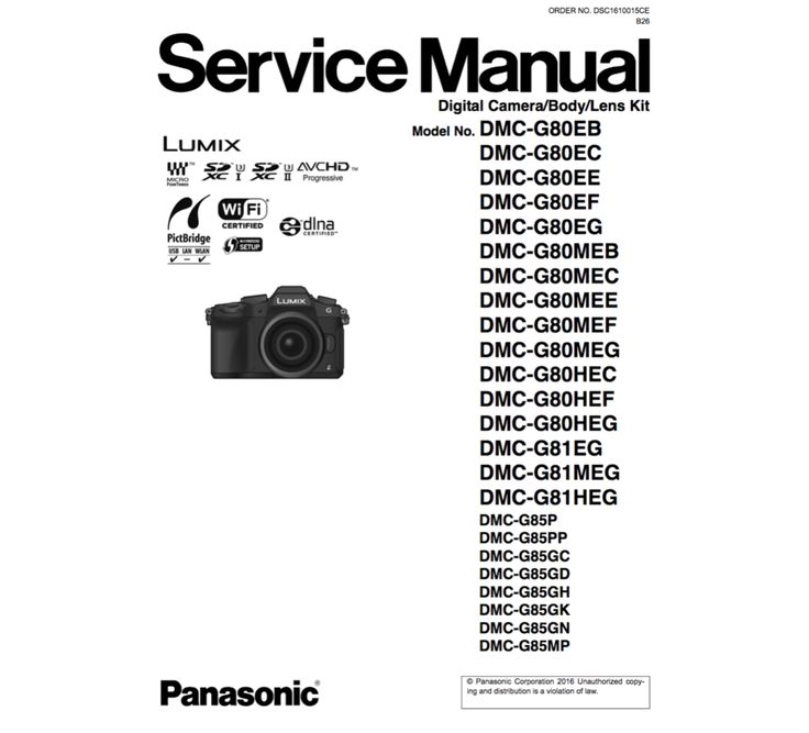 Panasonic DMC-G80/81/85 Service Manual Complete