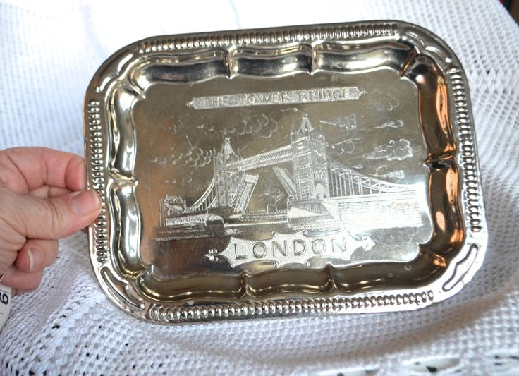 """SILVER TRAY """"LONDON"""" Shabby Silver Tray Platter Plate Ornately Engraved """"Tower Bridge"""" Silver Plated Souvenir Plate London Plate by StudioVintage on Etsy"""