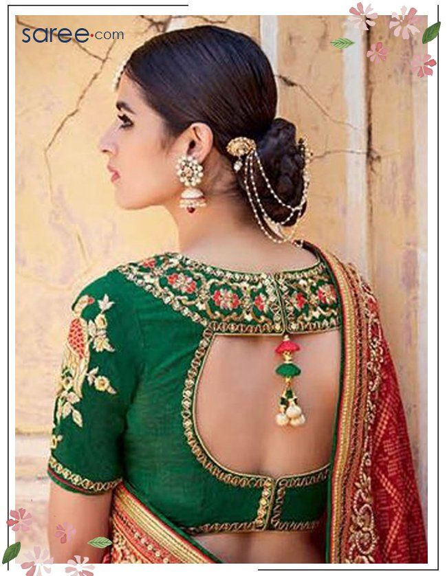 Red and Green Jacquard Saree with Embroidery Work