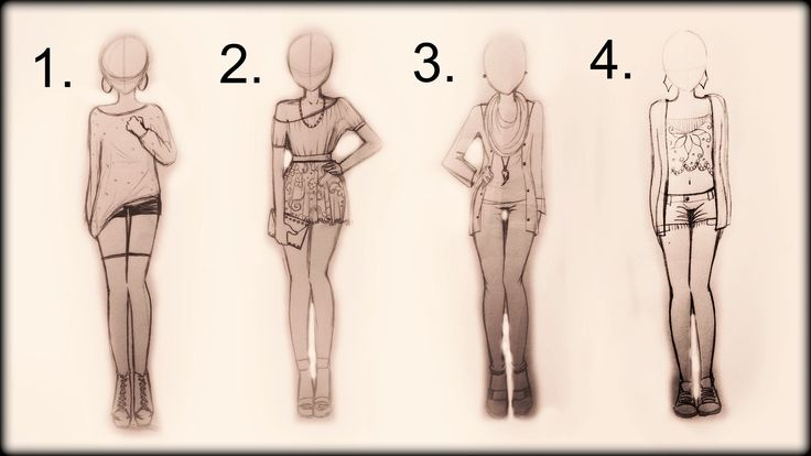❤ Drawing Tutorial , How to draw 4 spring outfits ❤