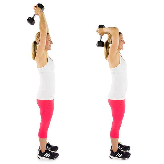 Triceps Extensions: Keep your elbows close to your ears throughout this exercise to enhance your posture!