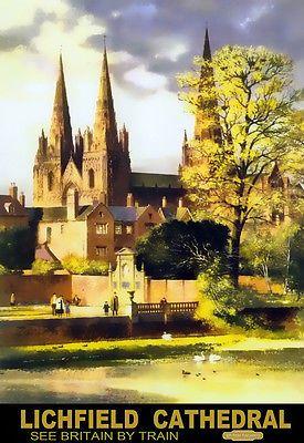 Art Ad British Railways Lichfield Cathedral  Train Rail Travel  Poster Print