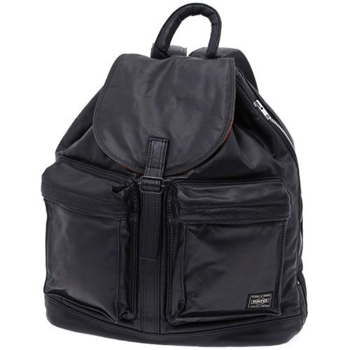 Porter Tanker Leather Rucksack. Product No: 383-04891. Size: W330/H430/D130. Outside: Cow steerhide leather (chrome tanned)/Inside: Nylon taffeta. Available in Black, Brown.