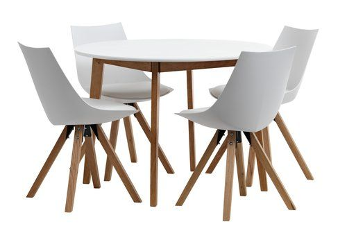 Tafel JEGIND + 4 stoelen ORE wit/eiken   JYSK
