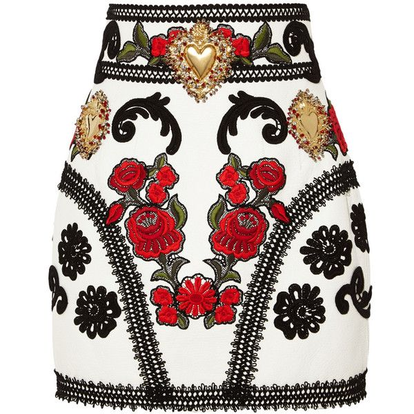 Dolce & Gabbana - Embellished Embroidered Leather Mini Skirt (£2,705) ❤ liked on Polyvore featuring skirts, mini skirts, bottoms, saias, faldas, юбки, white, mini skirt, white skirt and patterned mini skirt