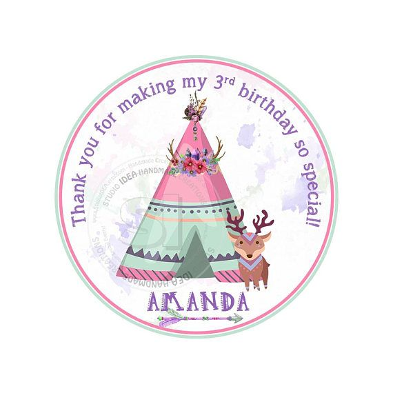 Custom Printable Teepee Birthday Thank you Tags Personalized