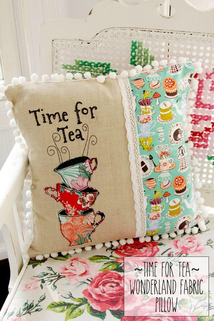 time-for-tea-wonderland-fabric-pillow tutorial ~ Flamingo Toes