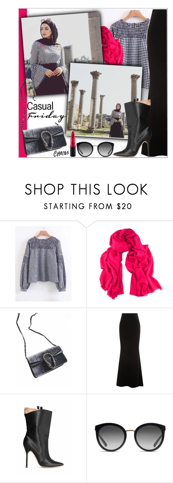 """""""HIJAB FASHION"""" by elly-852 ❤ liked on Polyvore featuring Black, Talbot Runhof, Dolce&Gabbana and MAC Cosmetics"""