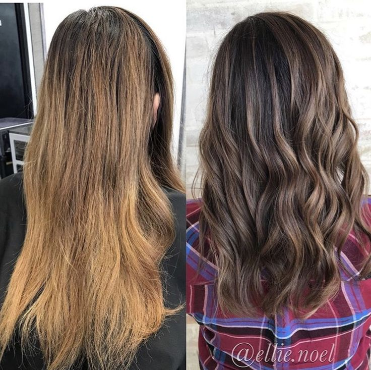 Hand painted balayage. Before and after hair. Beautiful