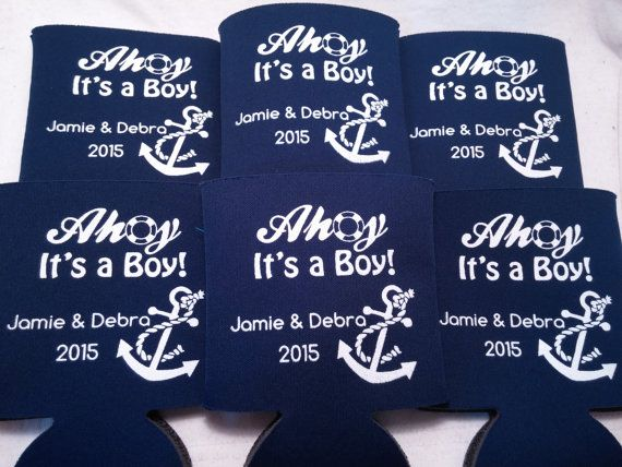 Nautical Baby Shower favors koozies design 170888359 lot of 50 custom can coolers reserved for selkmann11- Stock Art Available