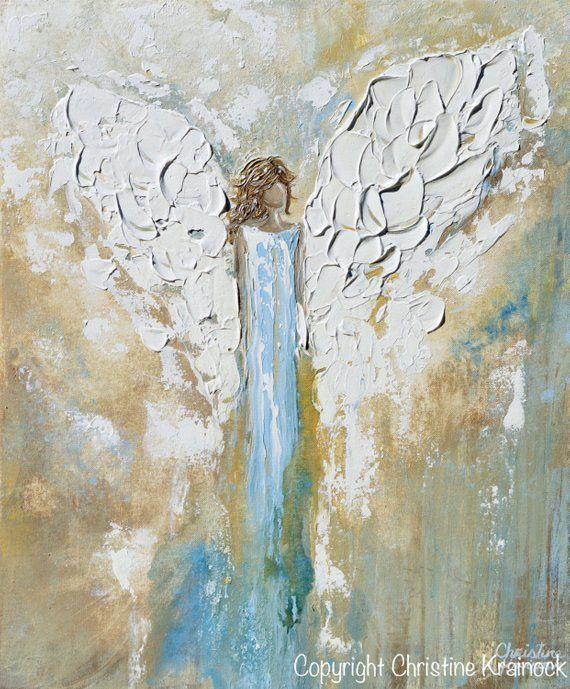 GICLEE PRINT Art abstrakte Engel Malerei Acrylmalerei Home Decor Weihnachtsgeschenk Wall Decor Engelsflügel weiß Aqua blau – Christine Bell
