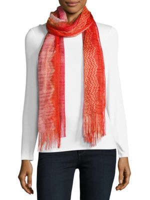 MISSONI Signature-Patterned Fringed Scarf. #missoni #scarf