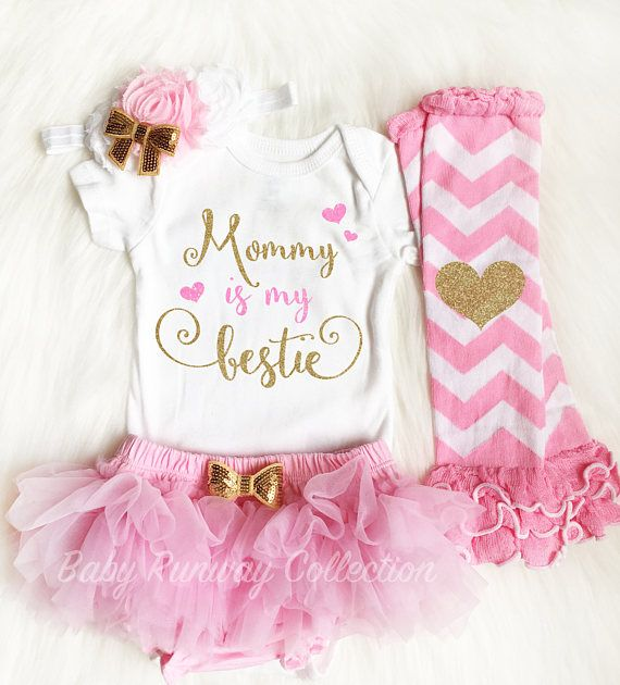 Glitter Bodysuit Baby Girl Outfit Mommy is my Bestie First