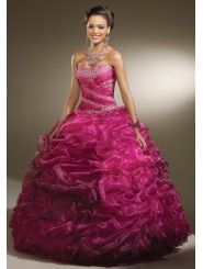 Organza Sweetheart Embroidered Bodice Quince Dress