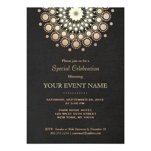 314 best evening wedding invitations images on pinterest card elegant faux gold foil circle motif black formal card stopboris Gallery