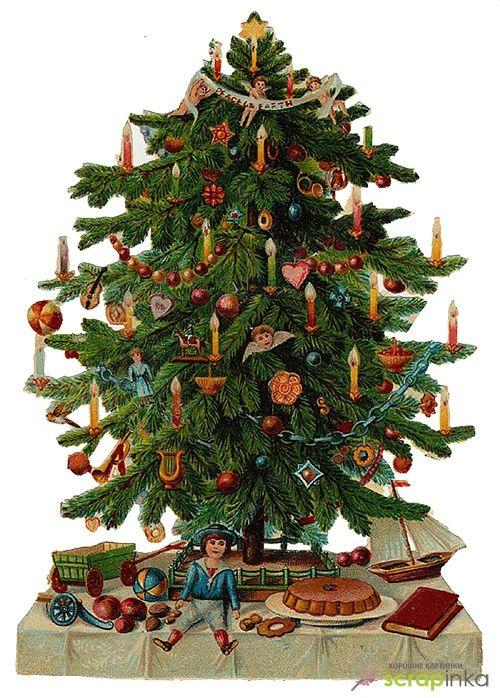 Старинная открытка елка, хорошего тебе