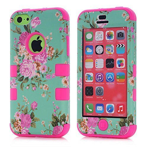 iPhone-5C-Case-Cover-Girly-Floral-Flowers-Hard-Hybrid-Silicone-Ladies-Pink-Cases