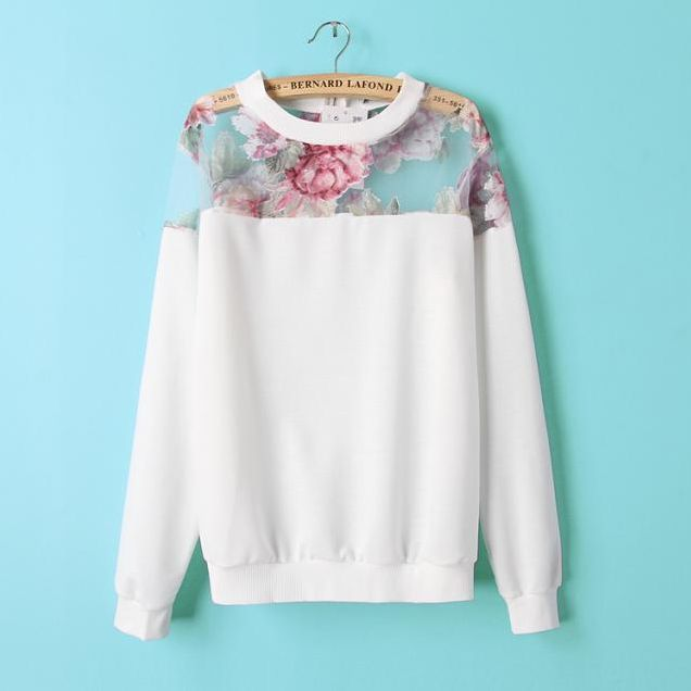 Europe and the United States shoulder Eugen yarn splicing printed zip back long sleeved sweater