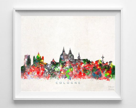 Cologne Skyline Print Germany Wall Art Cologne by InkistPrints