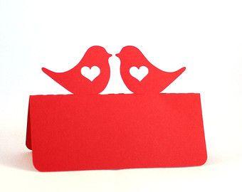 Tarjeta del lugar fijado de boda 100 pájaros del amor por Tiffzippy