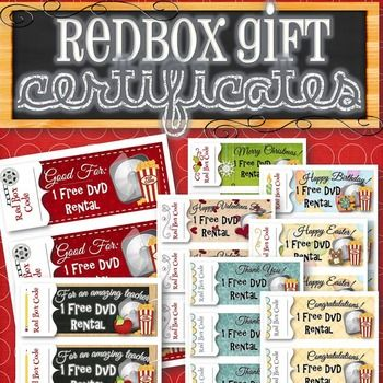 The perfect gift for anyone and any occasion! Simply purchase a redbox code and write it on one of the 8 styles of certificates as an easy and cute gift anyone will enjoy! A regular and editable PDF format are included. Coupon Themes: - Generic - Teacher - Christmas - Birthday - Valentines - Easter - Thank You - Congratulations