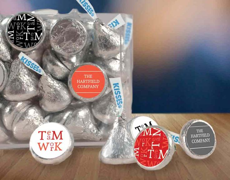 Personalized Teamwork Stickers for HERSHEY'S KISSES candy: Custom candy for team building event #corporateevent #whcandy #eventplanning #customcandy #candystickers #teambuilding #conferenceideas