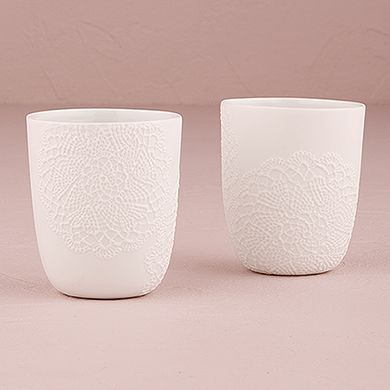 White Porcelain Votive Holder with Embossed Lace Embellishment (~$5 CAD each) | Wedding Star