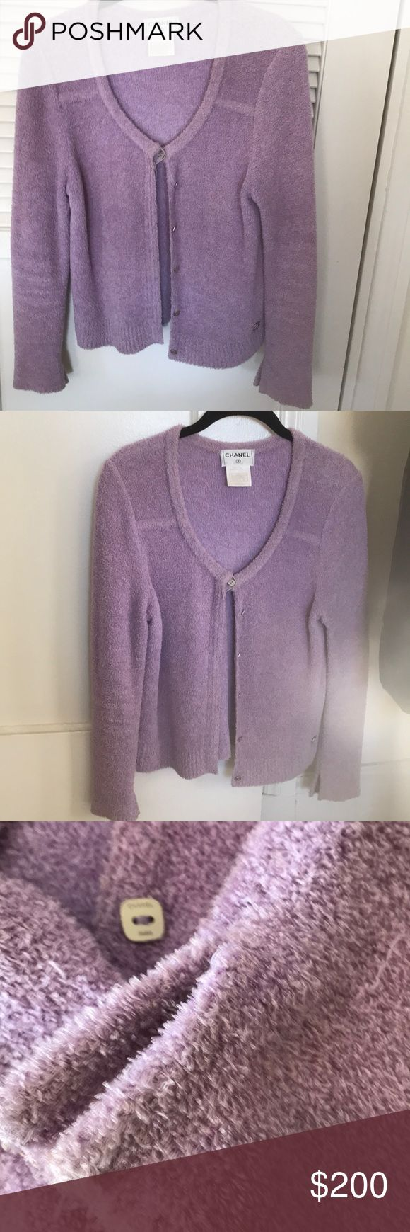 Chanel Sweater Lightweight cardigan in a lavender shade with small silver Chanel buttons.  Soft nubby cotton blend yarns.  Great vintage condition. CHANEL Sweaters Cardigans