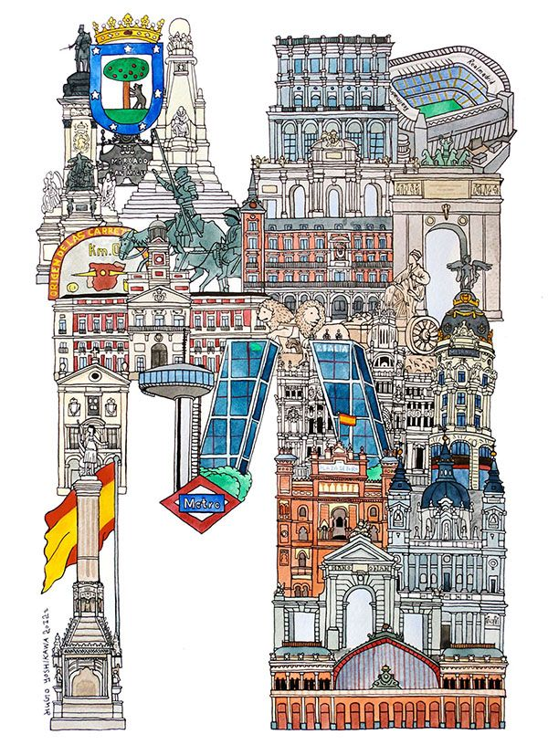 Madrid - ABC illustration series of European cities by Japanese illustrator Hugo Yoshikawa